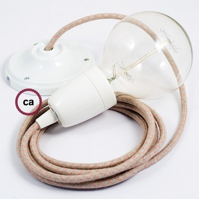 Lampe suspension en porcelaine câble textile Losange Vieux Rose RD61