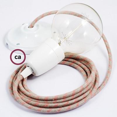 Lampe suspension en porcelaine câble textile Stripes Vieux Rose RD51