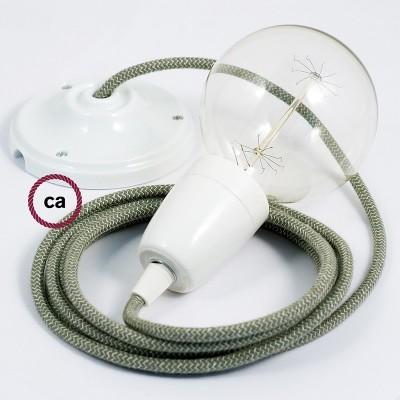 Lampe suspension en porcelaine câble textile ZigZag Vert Thym RD72
