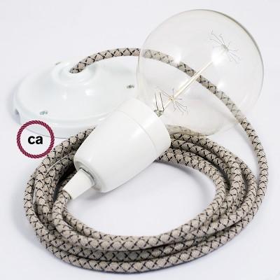 Lampe suspension en porcelaine câble textile Losange Anthracite RD64
