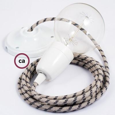 Lampe suspension en porcelaine câble textile Stripes Anthracite RD54