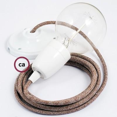 Lampe suspension en porcelaine câble textile Paillettes et Lin Naturel Marron RS82