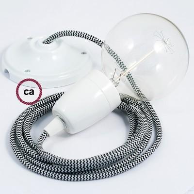 Lampe suspension en porcelaine câble textile ZigZag Noir RZ04