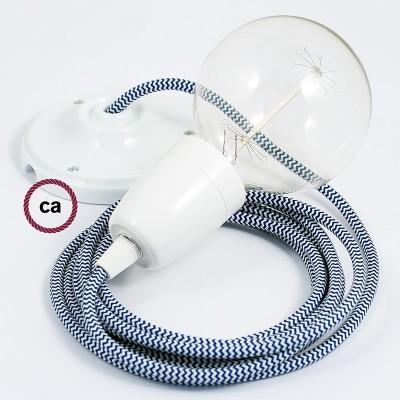 Lampe suspension en porcelaine câble textile ZigZag Bleu RZ12