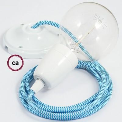 Lampe suspension en porcelaine câble textile ZigZag Turquoise RZ11