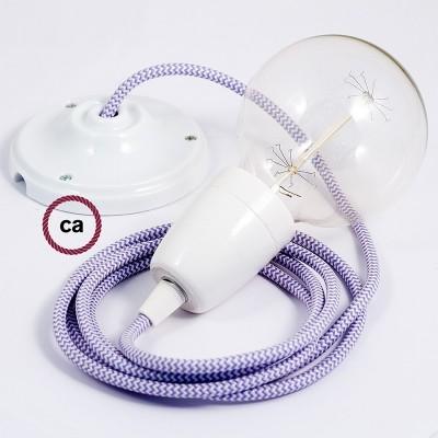 Lampe suspension en porcelaine câble textile ZigZag Lilas RZ07