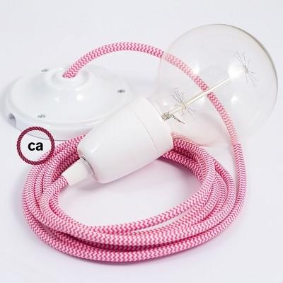 Lampe suspension en porcelaine câble textile ZigZag Fuchsia RZ08