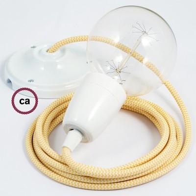 Lampe suspension en porcelaine câble textile ZigZag Jaune RZ10