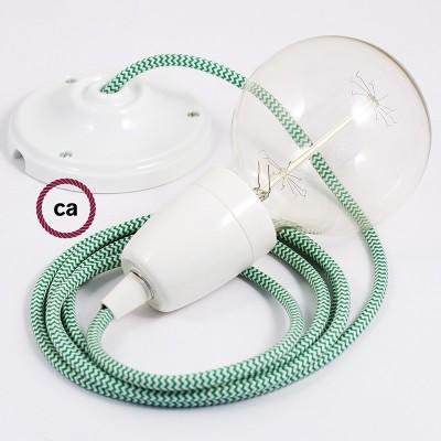 Lampe suspension en porcelaine câble textile ZigZag Vert RZ06