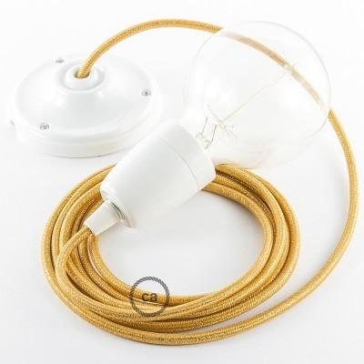 Lampe suspension en porcelaine câble textile Paillettes Or RL05