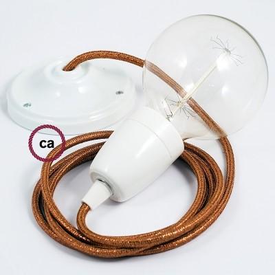Lampe suspension en porcelaine câble textile Paillettes Cuivre RL22
