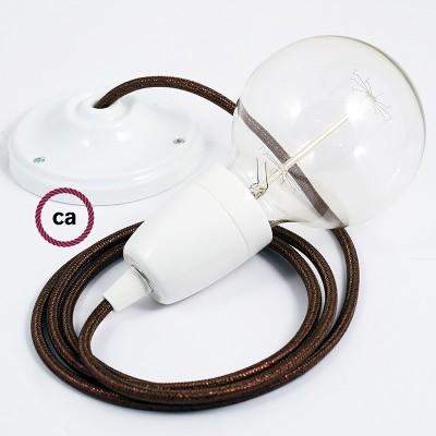 Lampe suspension en porcelaine câble textile Paillettes Marron RL13
