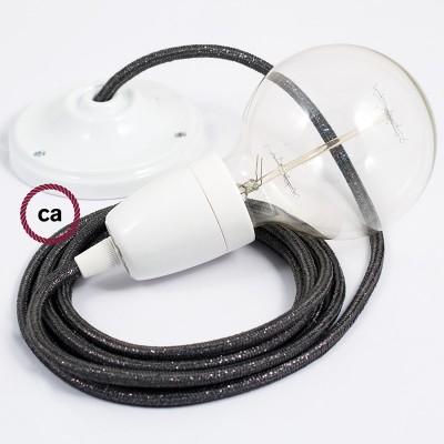 Lampe suspension en porcelaine câble textile Paillettes Gris RL03