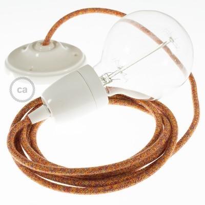 Lampe suspension en porcelaine câble textile Coton Indian Summer RX07