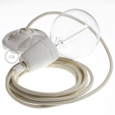 Lampe suspension en porcelaine câble textile Effet Soie Ivoire RM00