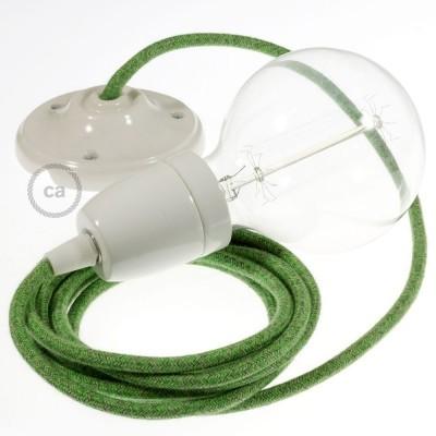 Lampe suspension en porcelaine câble textile Coton Bronte RX08