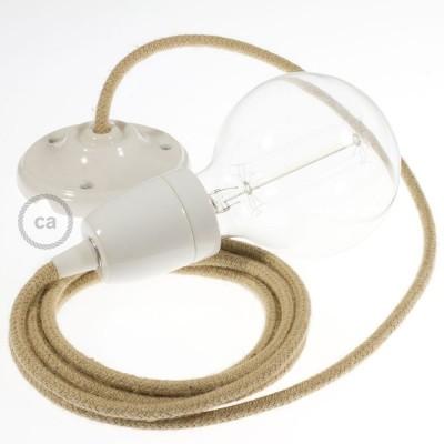 Lampe suspension en porcelaine câble textile Jute RN06