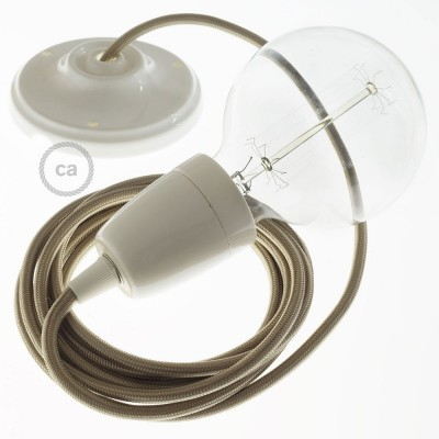 Lampe suspension en porcelaine câble textile Effet Soie Cipria RM27