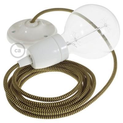 Lampe suspension en porcelaine câble textile Effet Soie ZigZag Or et Noir RZ24