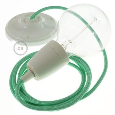 Lampe suspension en porcelaine câble textile Effet Soie Opal RH69