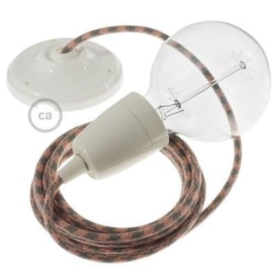 Lampe suspension en porcelaine câble textile Coton Bicolore Vieux Rose et Gris RP26