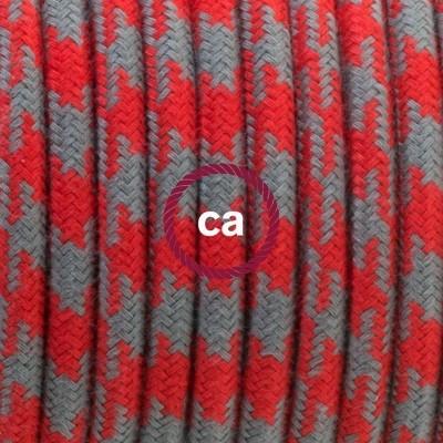 Lampe suspension en porcelaine câble textile Coton Bicolore Rouge Feu et Gris RP28