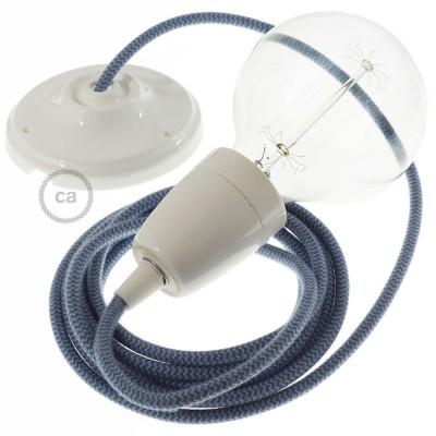 Lampe suspension en porcelaine câble textile Coton ZigZag Gris Pierre et Océan RZ25