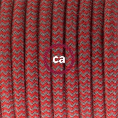 Lampe suspension en porcelaine câble textile Coton ZigZag Rouge Feu et Gris RZ28