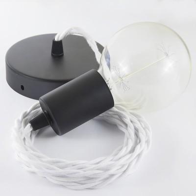 Lampe suspension câble textile Coton Blanc TC01
