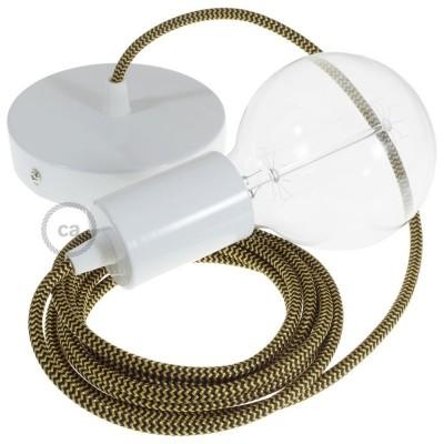 Lampe suspension câble textile Effet Soie ZigZag Or et Noir RZ24