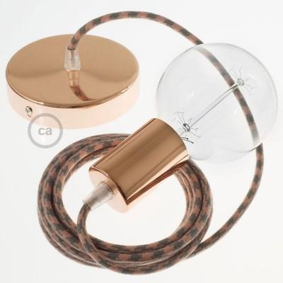 Lampe suspension câble textile Coton Bicolore Vieux Rose et Gris RP26