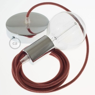 Lampe suspension câble textile Coton ZigZag Rouge Feu et Gris RZ28