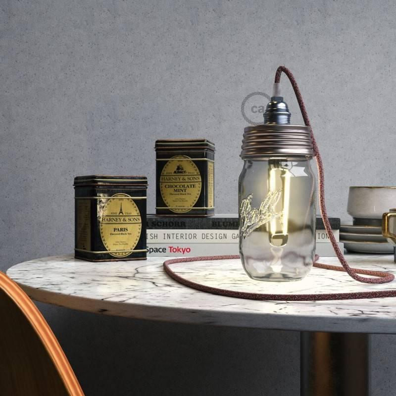 Kit éclairage pour bocal en verre en metal couleur Zinc avec serre-câble conique et douille E14 chromé