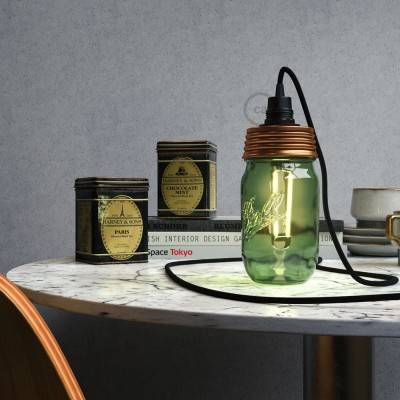 Bronskleurige cocktail pot hanglamp kit met conische trekontlasting en E14 zwart bakeliet fitting