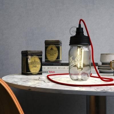 Kit éclairage pour bocal en verre en metal couleur Noir avec serre-câble conique et douille E14 noire en bakélite