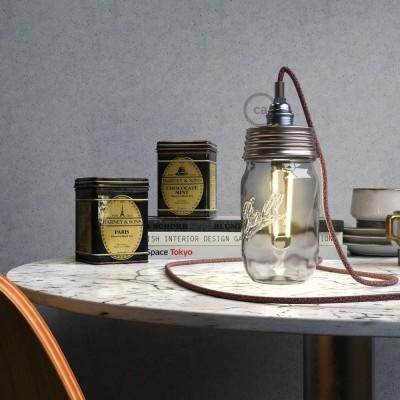 Kit éclairage pour bocal en verre en metal couleur Zinc avec serre-câble cylindrique et douille E14 chromé