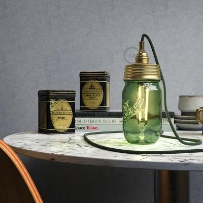 Kit éclairage pour bocal en verre en metal couleur Or avec serre-câble cylindrique et douille E14 métal laiton