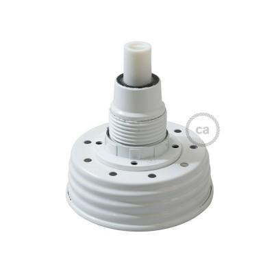 Witte cocktail pot hanglamp met cilindrische trekontlasting en E14 wit bakeliet fitting