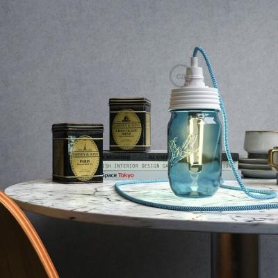 Kit éclairage pour bocal en verre en metal couleur Blanc avec serre-câble cylindrique et douille E14 blanche en bakelite