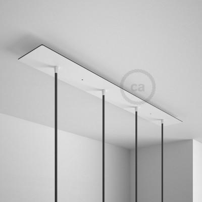 Rosace XXL rectangulaire 90x12cm à 4 trous blanche avec les accessoires.