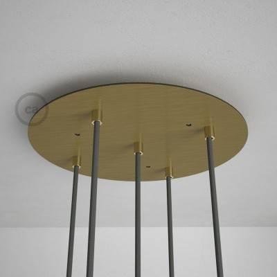 Rosace XXL ronde 35cm à 5 trous laiton satiné avec les accessoires.