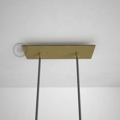 Rosace XXL rectangulaire 30x12cm à 2 trous laiton satiné avec les accessoires.