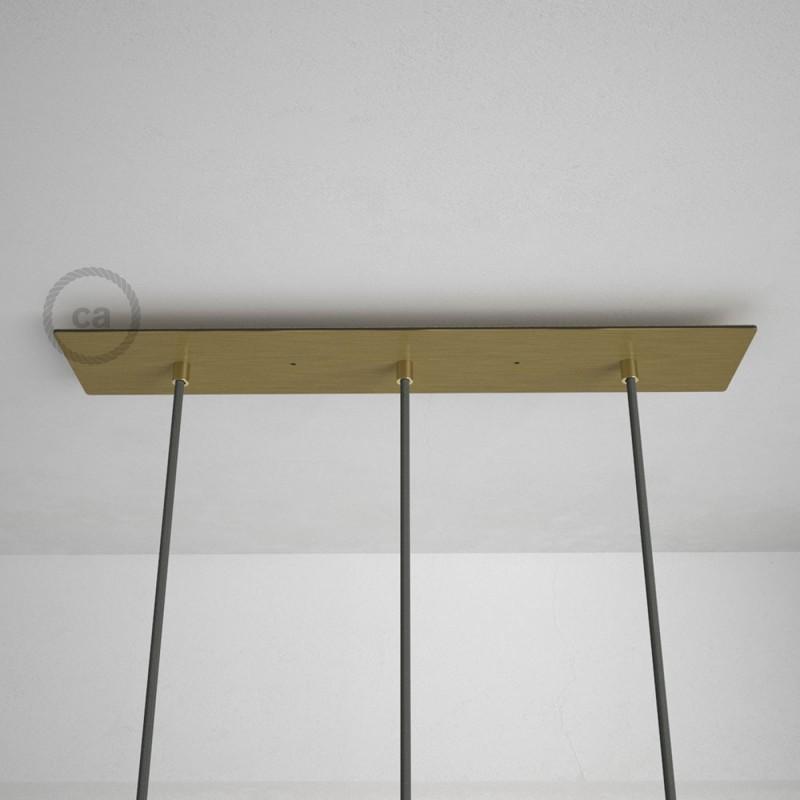 Rosace XXL rectangulaire 60x12cm à 3 trous laiton satiné avec les accessoires.