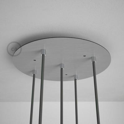 Rosace XXL ronde 35cm à 5 trous acier satiné avec les accessoires.
