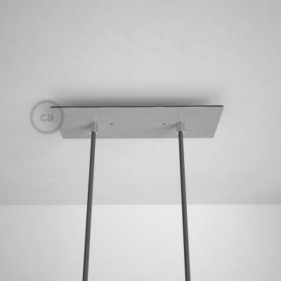 Rosace XXL rectangulaire 30x12cm à 2 trous acier satiné avec les accessoires.