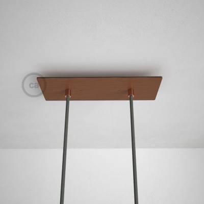 Rosace XXL rectangulaire 30x12cm à 2 trous cuivre satiné avec les accessoires.