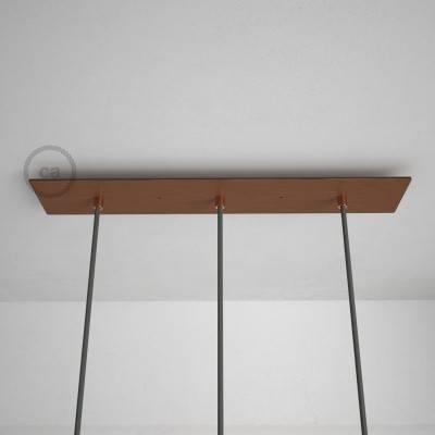 Rosace XXL rectangulaire 60x12cm à 3 trous cuivre satiné avec les accessoires.