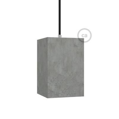 Abat-jour en ciment Cube avec serre-câble et douille E27