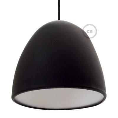 Abat-jour en silicone noir complet de diffuseur et serre-câble. Diamètre 25 cm.