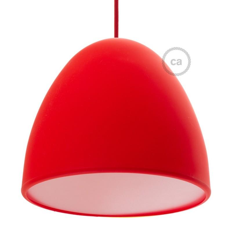 Abat-jour en silicone rouge complet de diffuseur et serre-câble. Diamètre 25 cm.